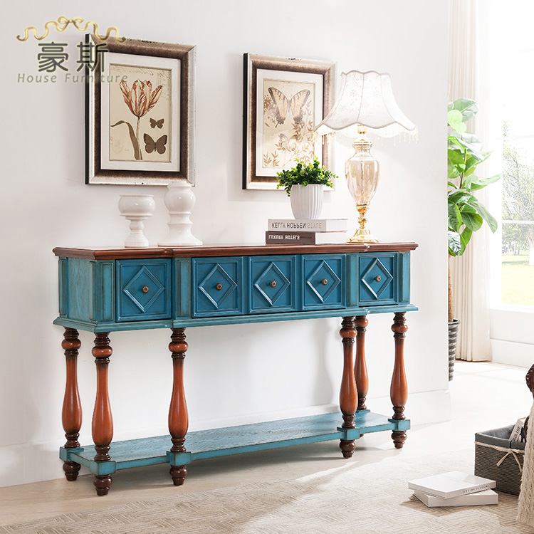 Wooden Bench As A Console Table ~ Mediterranean blue living room with solid wood console