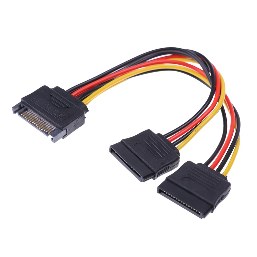20cm 15Pin SATA Male To Female 2 SATA Splitter Cable Power Adapter Cord Extension Wire Line For HDD Hard Disk Splitter Connector