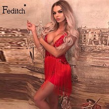 Feditch 2018 New Sexy Sequin Tassel Mini Dress Women Elegant Sleeveless Bodycon  Women Party Dresses Summer 760bcb8a2b70