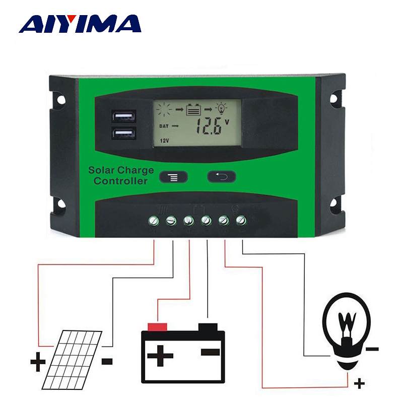 Aiyima PWM 12V 24V Solar Controller 10A 20A 30A LCD Function Dual USB 5VDC Output Solar cells Panels Battery Charge Regulator pwm 30a 20a 10a solar charge controller 12v 24v auto with back light lcd display dual usb 5v solar regulator charger z10 z20 z30