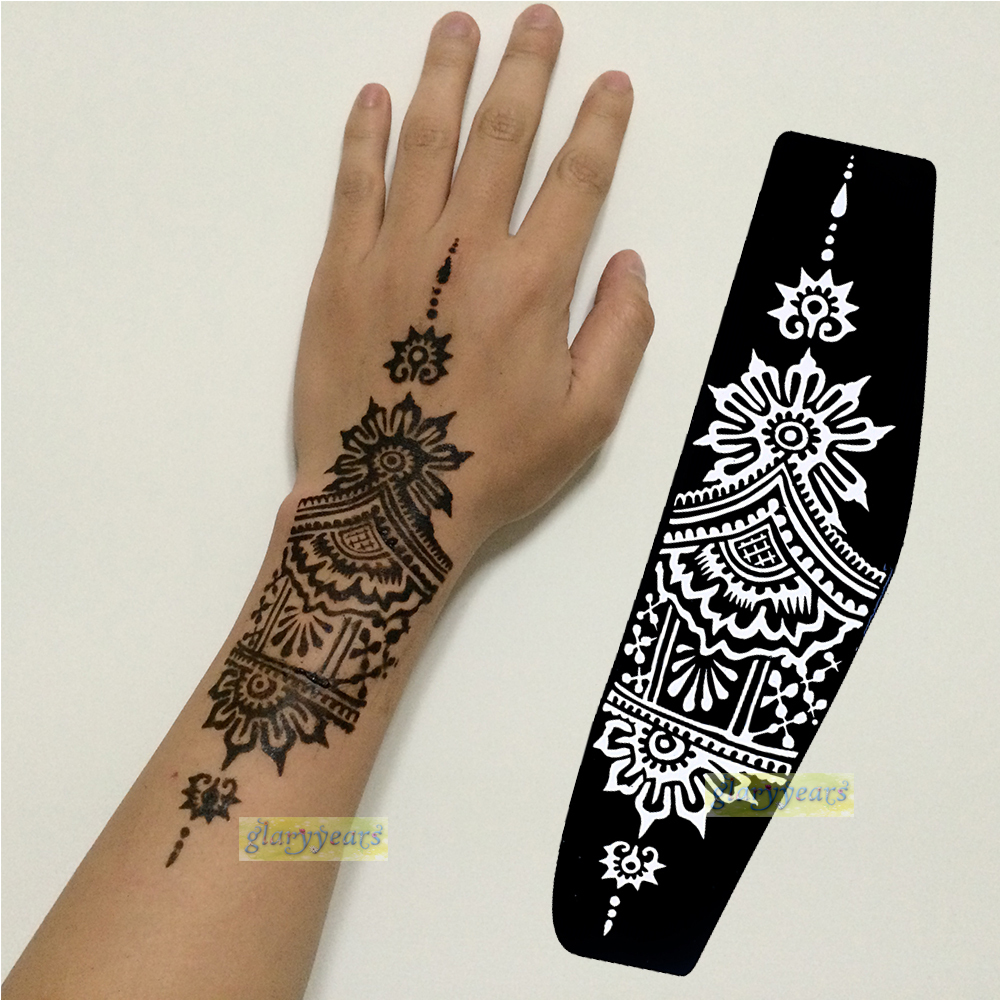 Buy 1pc large mehndi henna glitter for Henna temporary tattoo stencils