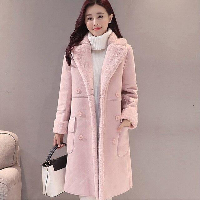 Kadın Süet Kürk Kalın Sıcak Faux Koyun Derisi Uzun Ceket Kadın Palto 2019 Kış Moda Katı trençkotlar Damla Nakliye