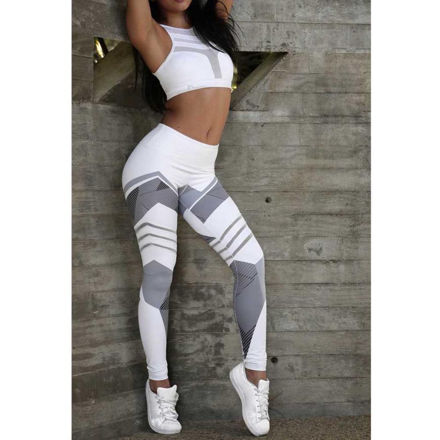 2018 ventas calientes mujeres entrenamiento Mediados de cintura Pantalones fitness elástico Leggings gota mar5