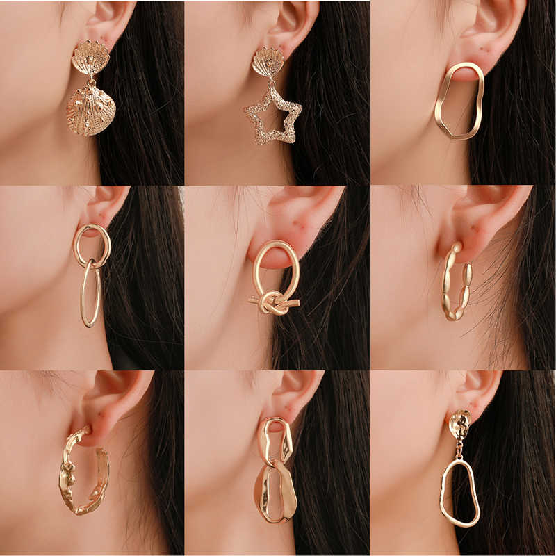 Yobest Big Vintage Earrings for women gold color Geometric statement earring 2019 hanging yellow fashion jewelry