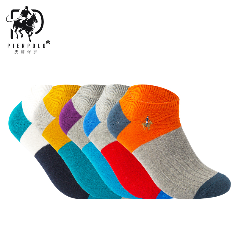 PIERPOLO   Socks   New Fashion High Quality Brand   Sock   Cotton Meia Casual Men's   Socks   Embroidery Happy Summer   Socks   No box