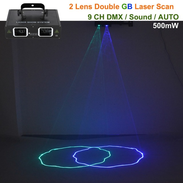 2 Lens Green Blue Beam Laser Lights DMX Professional Lamp Home Party DJ Show Holiday Bar Ray Scan Projector Stage Lighting 506GB