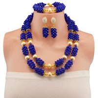 Newest Nigerian Wedding African Beads Jewelry Set 11 color from india Two layer earing and statement necklace sets