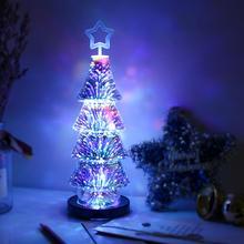 2018 Christmas 3D Effect Fireworks LED Light Christmas Tree Desk Table USB Lamp Showcase Decoration for Home Tree Hot