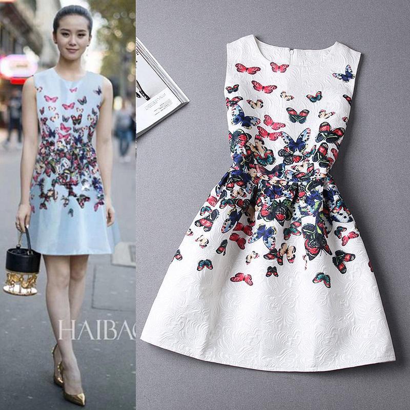 e663414687 Casual Print Dress New 2018 Printing Sleeveless Vest Party Dress Vestidos  Vintage Woman tutu Short Porcelain A-line Dresses