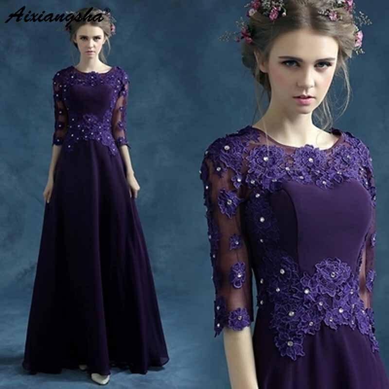 Demi manches bleu violet robe de soirée vestidos mae da noiva mère de la mariée robes pour grande taille robe mere de la mariee