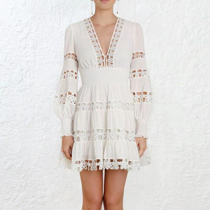 OXANT femmes évider robe fleur coton lin vague Point couture vacances robe v-cou bulle manches taille montrer mince robe