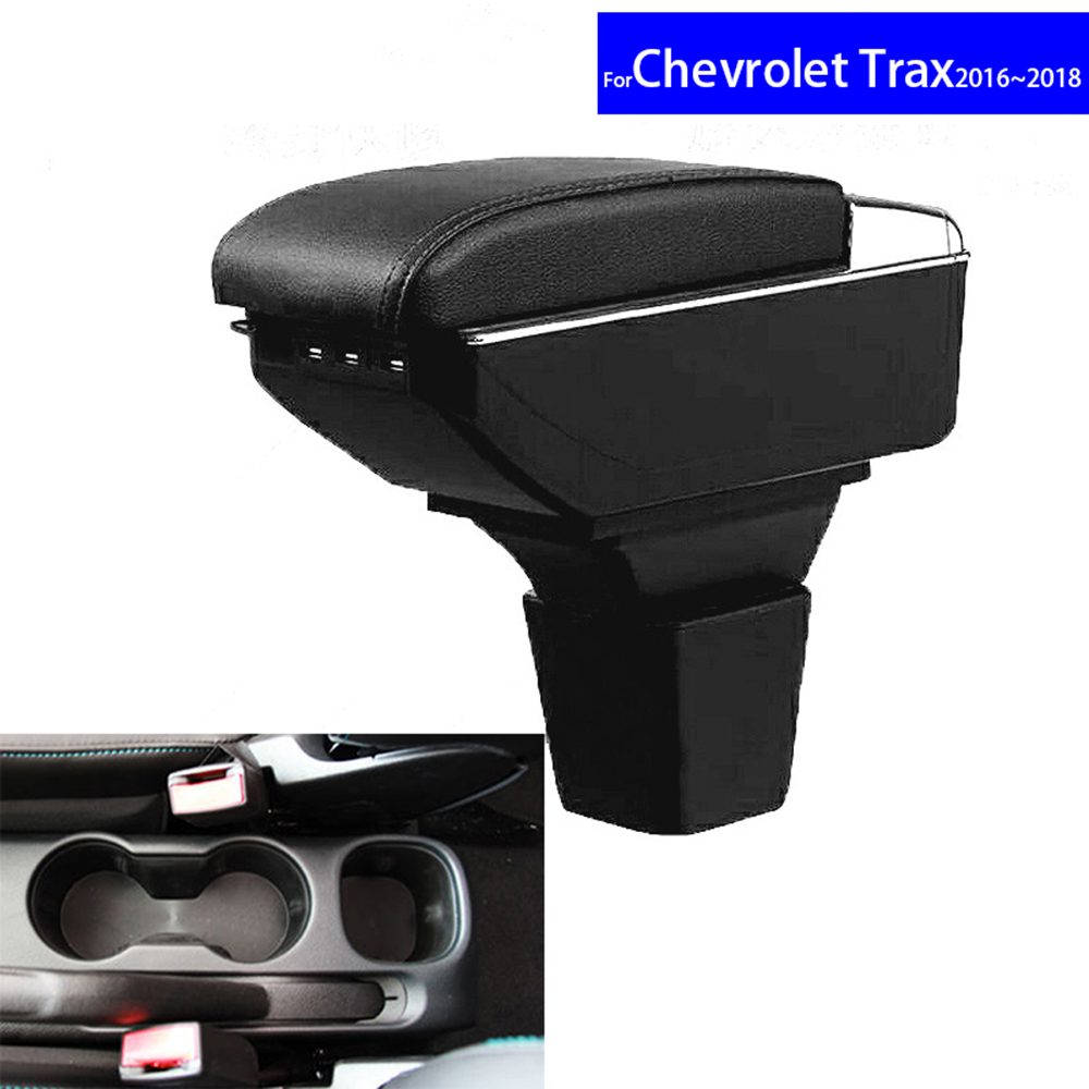 Leather Car Interior Parts Center Console Armrest Box for Chevrolet Trax 2016 2017 2018Auto Armrests Stroage with USB CUP Holder universal leather car armrest central store content storage box with cup holder center console armrests free shipping