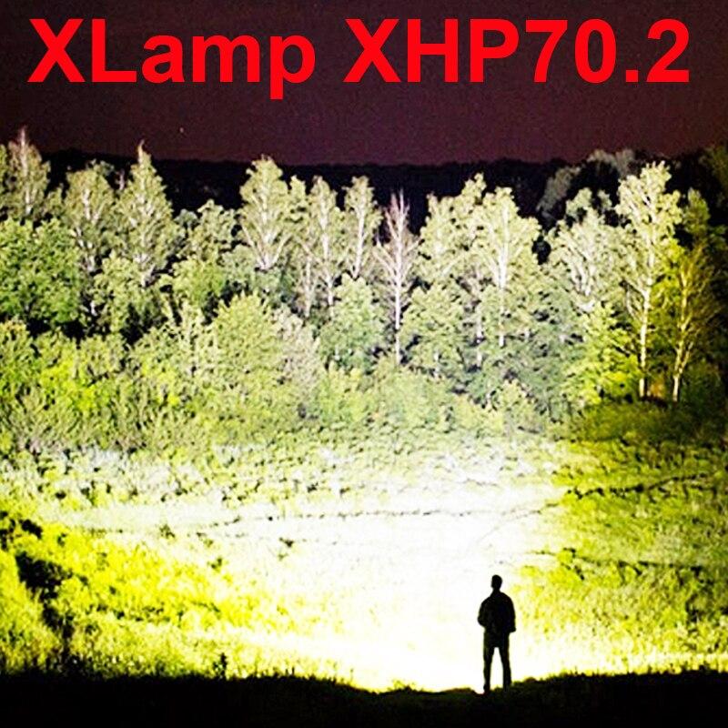 Led taschenlampe 90000 lumen xhp70.2 mächtigsten taschenlampe 26650 usb taschenlampe xhp70 xhp50 laterne 18650 jagd lampe hand licht