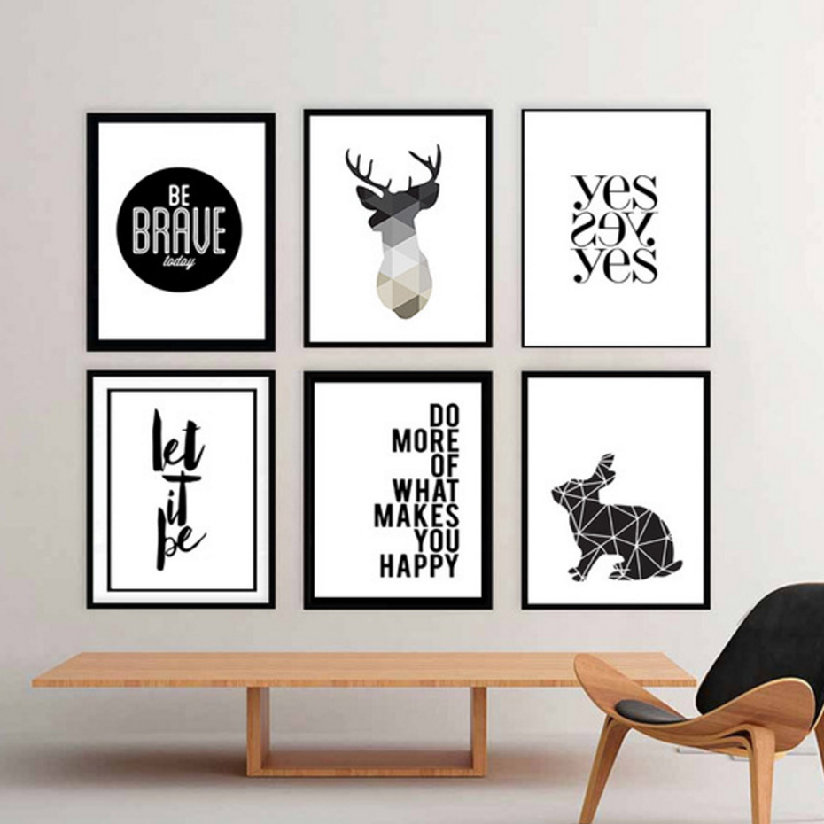 Minimalist geometric deer canvas painting black and white for Black and white mural prints