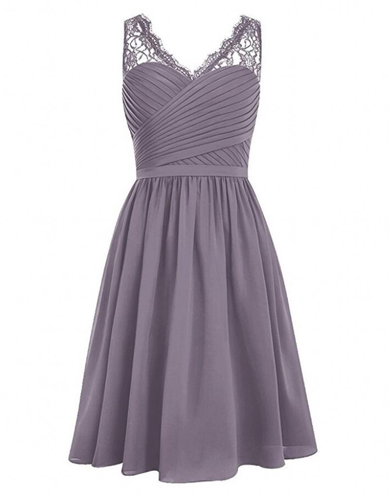 Cheap Grey Short Chiffon Homecoming Dresses Bridesmaid