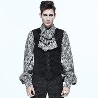 Vintage Men's Black Waist Coat Meal Buttons Embroidery Vest Male Retro Shirts Accessory Elegant