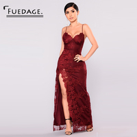 Fuedage 2018 White Wine Red Long Dress Solid Simple V Neck Lace Sleeveless Dress High Waist Hem Open Fork Vintage Party Dresses