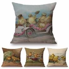 Bonita almohada feliz Pascua celebración hogar decorativo sofá almohadas Vintage cartel bebé pollo regalo funda de cojín de felicitación