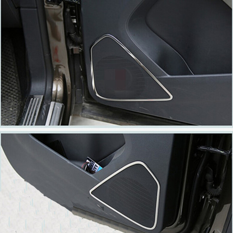 For Vw Tiguan 2010 2011 2012 2013 2014 2015 Car Accessories Modified Decorative Circle Audio Speaker Cover Ring Trim 4pcs