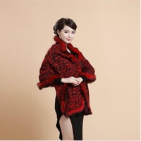 scarf for ladies women winter wool capes with real rex rabbit fur trimmed long leopard scarf women poncho womens shawls S31