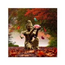 DIY 5D Diamond Painting Religious Statue Maple Landscape Cross Stitch Mosaic Embroidery Rhinestone Decoration Craft