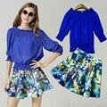 2017 crop top y falda set mujeres new floral fresco retro imprimir shirt + shorts traje mujeres 2 unidades falda conjuntos