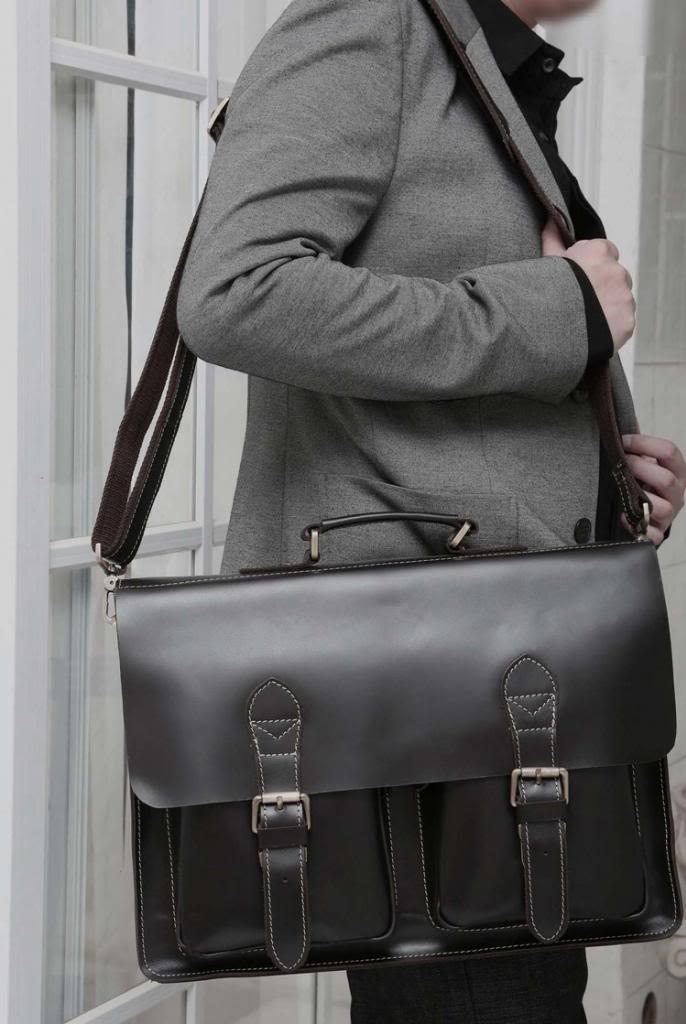 Augus First Layer Leather Black Business Briefcase Handbag Presentable Laptop Bag Fashional Shoulder Bag For Men 7105A