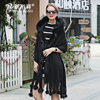 2018 Genuine fox fur poncho Scarf womanTribal Hoodies Jacket Warm For Women blankets Capes stole shawl Ponchos and Capes
