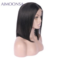 Brazilian Hair Lace Front Human Hair Short Bob Wigs For Women Natural Black Color Brazilian Remy