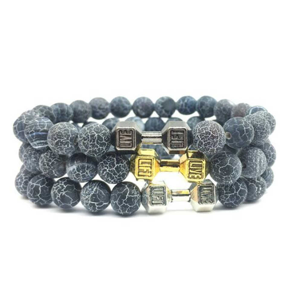 New arriver Black Weathered Natural Stone Bracelet  8mm beads Dumbbell Stretch Bracelet