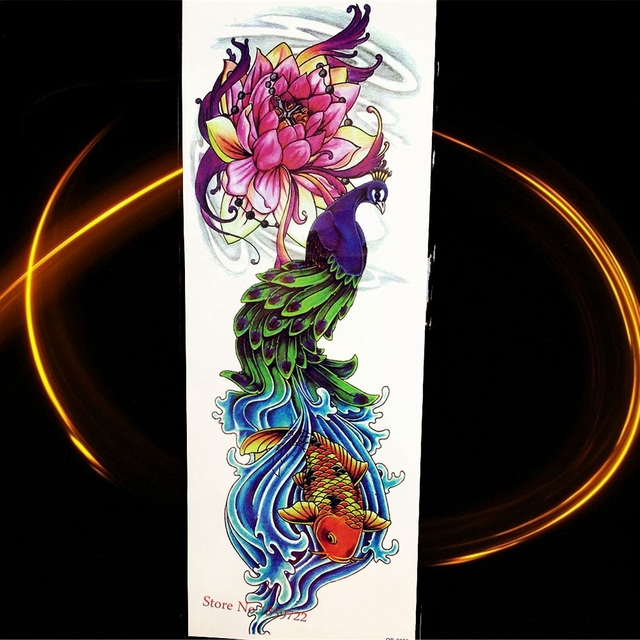 Us 161 5 Off2115cm Large Peacock Flower Arm Temporary Tattoo Sticker Women Lotus Fake Flash Watertransfer Tattoo Body Art Sleeve Fish Paint In