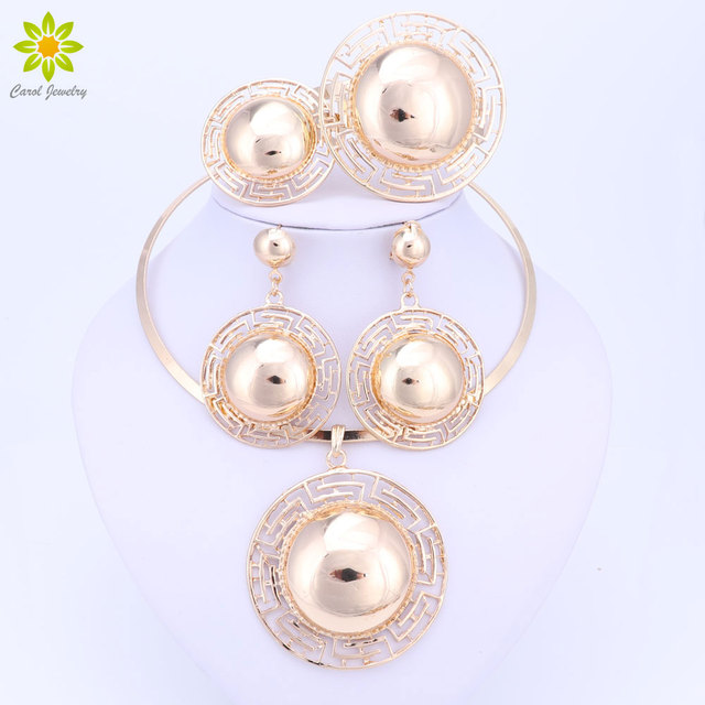 Fashion Jewelry Sets Big Exaggerated Necklace Earrings Pendant Gold Color Africa