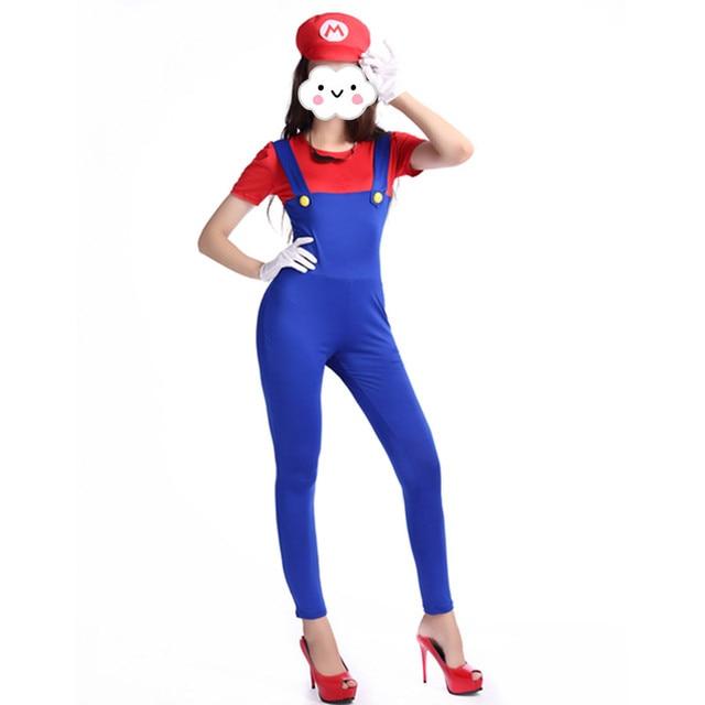 Super mario costume femmes costume vêtements sexy plombier costume mario  bros fantasia super mario bros costumes 39d3c312c59