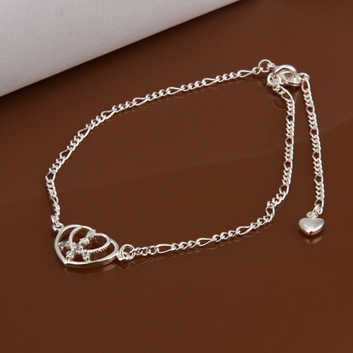 Free shipping wholesale price fashion Insets Heart 925 jewelry silver plated women foot anklet top quality SMTA017