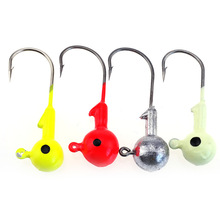 20-50pcs Mixture Random color Jig Head Lead Fishing Hook Overturned Fishhook 1/2/3.5/5/7/10/14/20g Barbed Soft bait Hooks