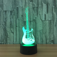 Creative Guitar Bass 3D LED Night Light 7 Color Changing USB Table Lamps For Musicians Home