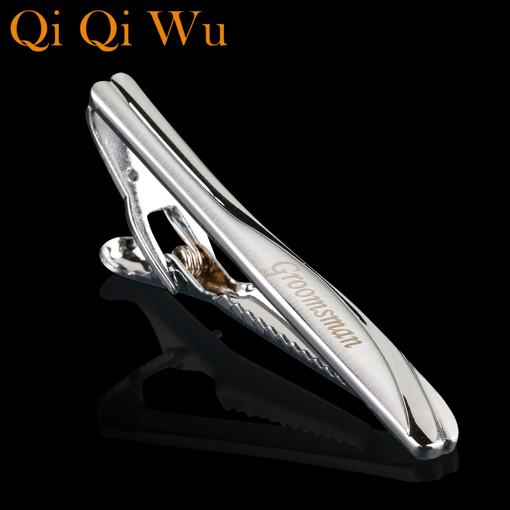 Personalized Tie Clip Untuk Perhiasan Hadiah Pernikahan Engraved Name Tie Bar Clip Bapa Neck tie clamp with Gift Box Stickpin
