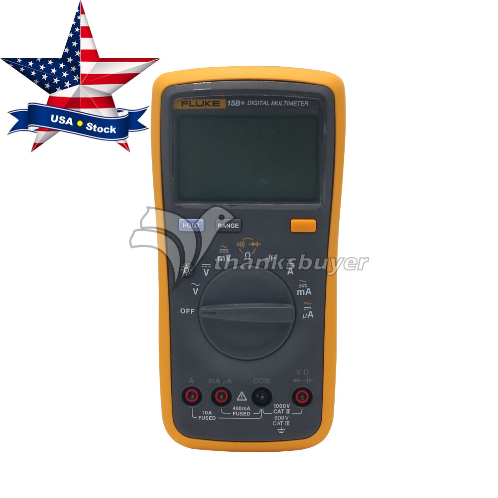 Digital Multimeter FLUKE 15B+ F15B+Meter Auto Range AC DC Voltage Current USA Stock aimo m320 pocket meter auto range handheld digital multimeter