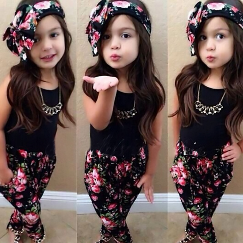 3pcs summer baby girls clothes vest t-shirt + flower pants + headband pattern style baby suit for baby kids girls clothing sets 2017 summer style girls clothing set baby girl clothes sets cartoon flower children kids black t shirt skirt white casual suit