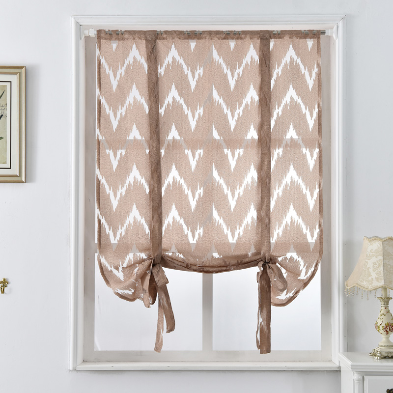 Kitchen Short Curtains Window Treatments Curtain Roman Blinds Jacquard Striped Home Textile Decorative Cafe In From Garden