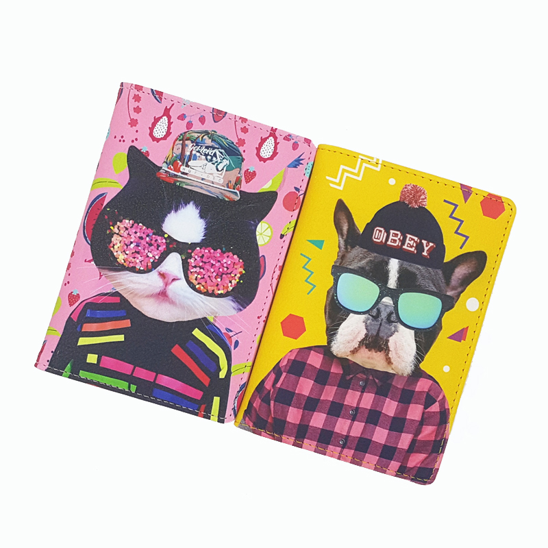 PU Leather Travel Passport Cover,Funny Animal Makeup