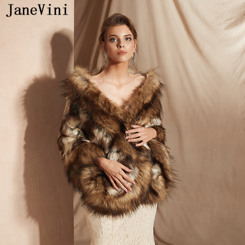 JaneVini 2019 Elegant Winter Women Bolero Faux Fur Wedding Shawl Bridal Wrap Cloak Formal Prom Party Cape Vestidos Mujer Largos