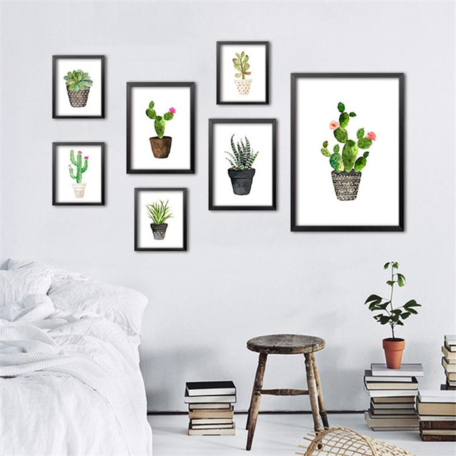 Nordic Watercolor Succulent Canvas Art Print Poster Cactus Set Wall  Paintings For Living Room Modern Home