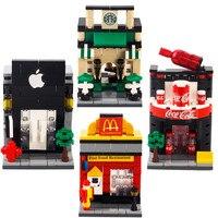 Mini City Street View Scene Figure Coffee Shop Retail Store Architectures Models Building Toy DIY Mini