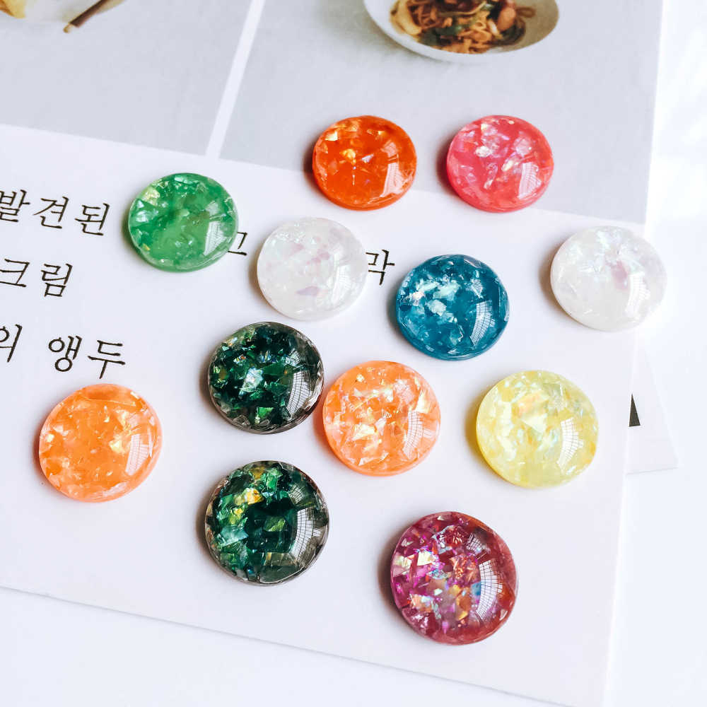 ZEROUP Round Resin Cameo Cabochons Mixed Color Flat Back Cabochon Setting  Supplies for Jewelry Finding 40pcs be99ef03f803