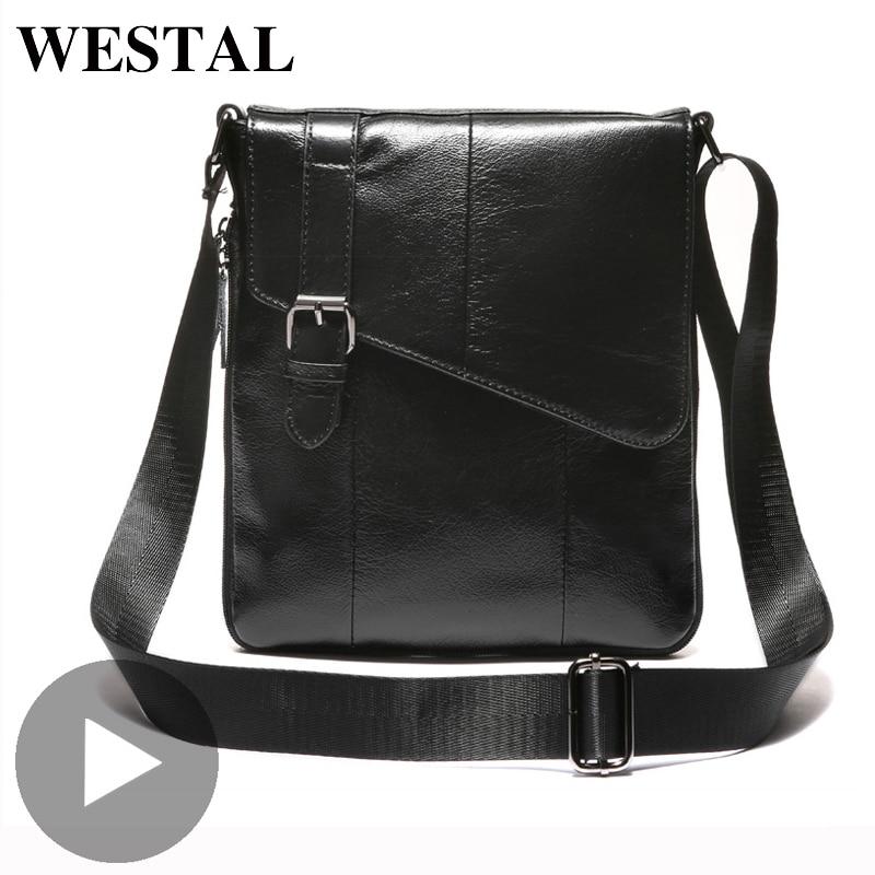 Westal Genuine Leather Shoulder Messenger Women Men Bag Briefcase Business Work Office For Portable Handbag Male Female Retro
