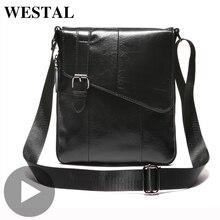 Westal Genuine Leather Shoulder Messenger Women Men Bag Briefcase Business Work Office For Portable Handbag Male Female Retro недорого