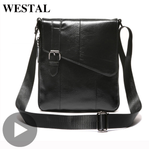 Westal Genuine Leather Shoulder Messenger Women Men Bag Briefcase Business Work Office For Portable Handbag Male Female Retro