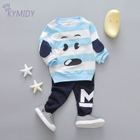 Casual Striped Children S Suits Newborn Clothing Set Sweater And Pants Cartoon Dog Image Cotton Baby
