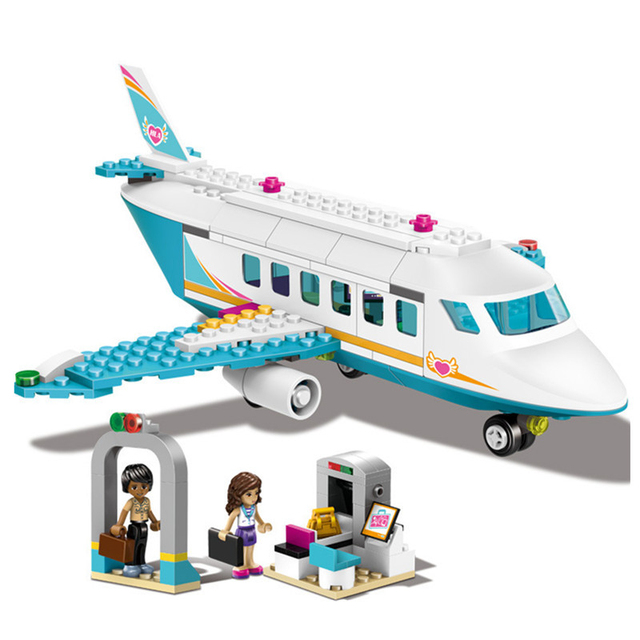 US $28 32 |Girls Friends Series 237Pcs/Lot Legoings Heart Lake City Private  Jet Plane Building Blocks Kit Education Toys-in Model Building Kits from